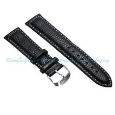 Luxury Black Genuine Leather Watch Band Bracelet Strap Stainless Steel Buckle