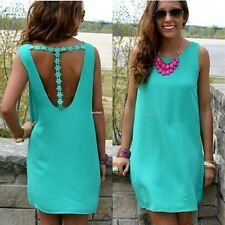 New Women Summer Lace Flower Backless Party Sleeveless Mini Sundress Dress