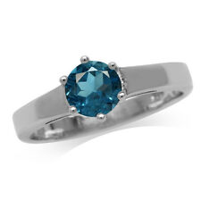 1.03ct. Genuine London Blue Topaz 925 Sterling Silver Solitaire Ring