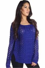 DEALZONE Cute Knitted Sweater Top S Small Women Blue Casual Short Sleeve