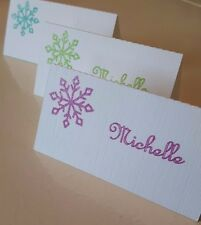 Christmas place cards with sparkle snowflake and name, Pink,Green or Aqua