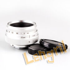 US Mini 25mm F1.8 APS-C For Television TV CCTV Lens 16mm C Mount Camera Silver