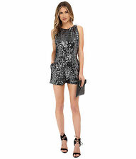 BB Dakota Women's Callan Silver Shiny Grey Sequin Sleeveless Romper