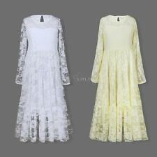 Wedding Flower Girl Dress Bridesmaid Long Sleeves Lace Gown Long Sash Dresses