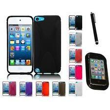 For Apple iPod Touch 5th Gen TPU Rubber Flexible Skin Case Cover Mount+Pen