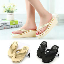 Women Platform Mid Heel Wedge Thong Flip Flops Sandals Beach Shoes New Fashion