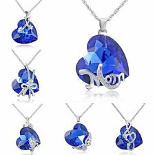 1PC Charms Crystal Rhinestone Mom Love Heart Pendant Necklace Mother's Day Gift