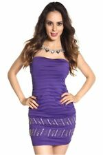 121AVENUE Attractive Sleeveless Ruched Dress S M Small Medium Women Purple