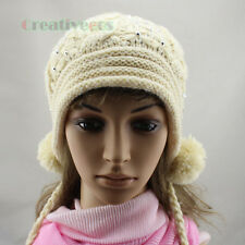 Women Beanies Winter Wool Knit Rhinestone Stripe Baggy Earflap Hat 7 Pom Ski Cap