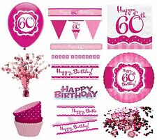 PERFECTLY PINK Girl Age 60 Happy 60th Birthday PARTY ITEMS Decorations Tableware