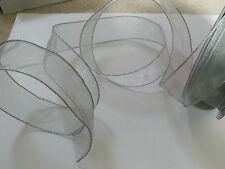SILVER SHIMMER Rope Edge Sheer Organza wedding - Luxury Wire Edged Ribbon LOW