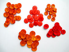 """VTG Buttons in Orange, Red or Peach colors, sz 7/8"""", 3/4"""" or 5/8"""" Flat 2-hole"""