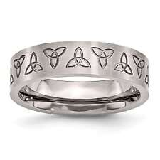 Stainless Steel Engraved Trinity Symbol Brushed 6mm Chisel Wedding Band 6 - 13