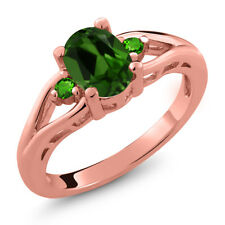 1.28 Ct Oval Green Chrome Diopside Green Simulated Tsavorite 14K Rose Gold Ring