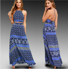 Sexy Women Summer Bohemia Backless Maxi Dress Evening Party Prom Long Beach New