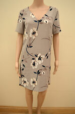 Next Next Mink Beige Floral Crepe Tunic Dress Sz UK 8 10