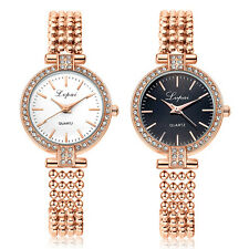 Lady Fashion Rhinestone Inlaid Slim Mesh Band Quartz Analog Wrist Watch Superb