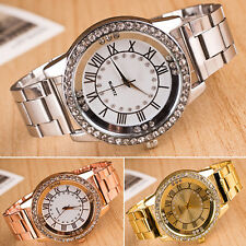 Men Women Rhinestone Roman Numerals Alloy Band Round Analog Quartz Watch Refined