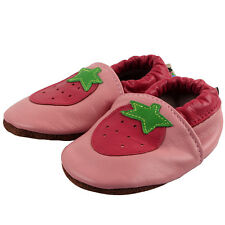 New Pink Soft Sole Leather Strawberry Baby Girl Kids Indoor Non-Slip Shoes 0-24M