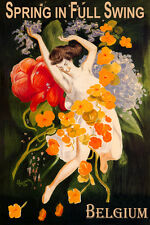 BELGIUM SPRING IN FULL SWING GIRL DANCING FLOWERS TRAVEL VINTAGE POSTER REPRO