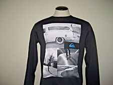 Quiksilver Mens Long Sleeve Vintage B&W Surf Skate Photo Cotton Tee Shirt NEW