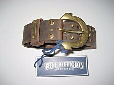 True Religion Womens Brown leather Studded belt engraved Buckle NWT Free Ship
