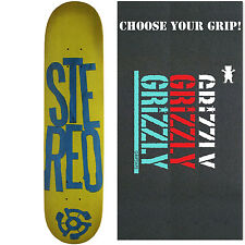 STEREO Skateboard Deck STACKED LOGO GREEN/BLUE 7.5 with GRIZZLY GRIPTAPE