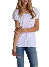 Violet & Virtue Women's Short Sleeve Scoop Neck Tee with Back Edge Cutout White