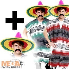 Adult Poncho + Sombrero Mexican Fancy Dress Mens Western Bandit Costume Outfit
