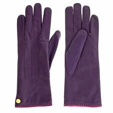 Coach Womens Leather Gloves Cashmere Lined Logo Plum Purple Winter Glove 82821