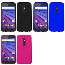 For Motorola Moto G 3rd Gen 2015 Case TPU Rubber Crystal Skin Slim-Grip Cover