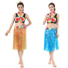 Hawaiian Dress Skirt Hula Grass Skirt With Flower Accessories Adult Lady HF