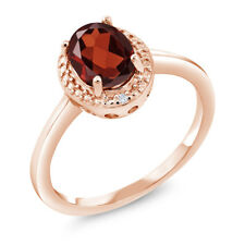 1.21 Ct Oval Red Garnet White Diamond 18K Rose Gold Plated Silver Ring