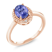 1.17 Ct Oval Blue Tanzanite White Diamond 18K Rose Gold Plated Silver Ring