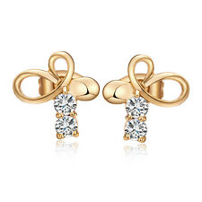 Heart Bow-knot With CZ Cute Stud Earrings Butterfly Fashion Jewelry Girls Ladies
