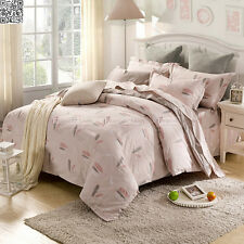Feather Quilt Doona Duvet Cover Set Cotton Single Double Queen King Size Bed