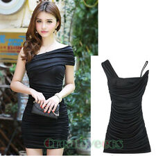 Women's Shoulders Wrapped Chest Pleated Hip Package Club Party Sexy Mini Dress