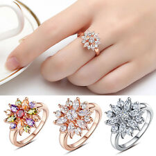 Shining Zircon Flower Shape Ring Anniversary/Party/Wedding Ring Lady Jewelry