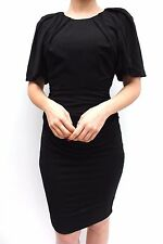 Karen Millen Black Big Sleeve Draped Jersey Raglan Cocktail Party Dress 10 38