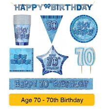 AGE 70 - Happy 70th Birthday BLUE GLITZ - Party Balloons, Banners & Decorations