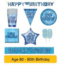 AGE 80 - Happy 80th Birthday BLUE GLITZ - Party Balloons, Banners & Decorations