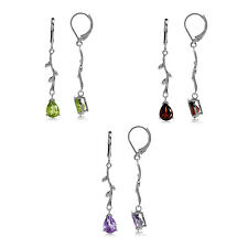 White Gold Plated 925 Sterling Silver Vine Leaf Leverback Gemstone Earrings