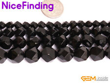 """Natural Faceted Black Agate Onyx Gemstone Loose Beads For Jewelry Making 15"""" DIY"""