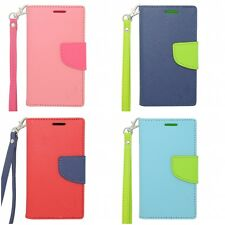 For Samsung Exhibit T599 Wallet Flip Case TPU With Card Holder And Lanyard