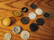 LOT OF12 ASSORTED VINTAGE COAT-SIZE BUTTONS CREAM BLACK GRAY & TAN