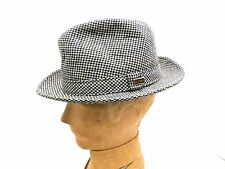 NOS VTG Mens Hat Dobbs Fedora/Trilby Houndstooth Black & White  Blue/Brown sz 7