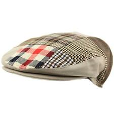 Men's Cotton 14 Patch Ivy Plaids Houndstooth Driver Cabby Flat Cap Hat Gray