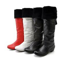 2016 Womens pu Leather Low Cuban Heel Knee High Boots Shoes US All Size