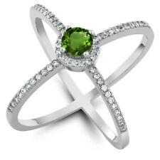 1.32 Ct Round Green Chrome Diopside 925 Sterling Silver Ring