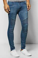 Boohoo Mens Mid Blue Super Skinny Fit Jeans with Biker Detail in Mid Blue size